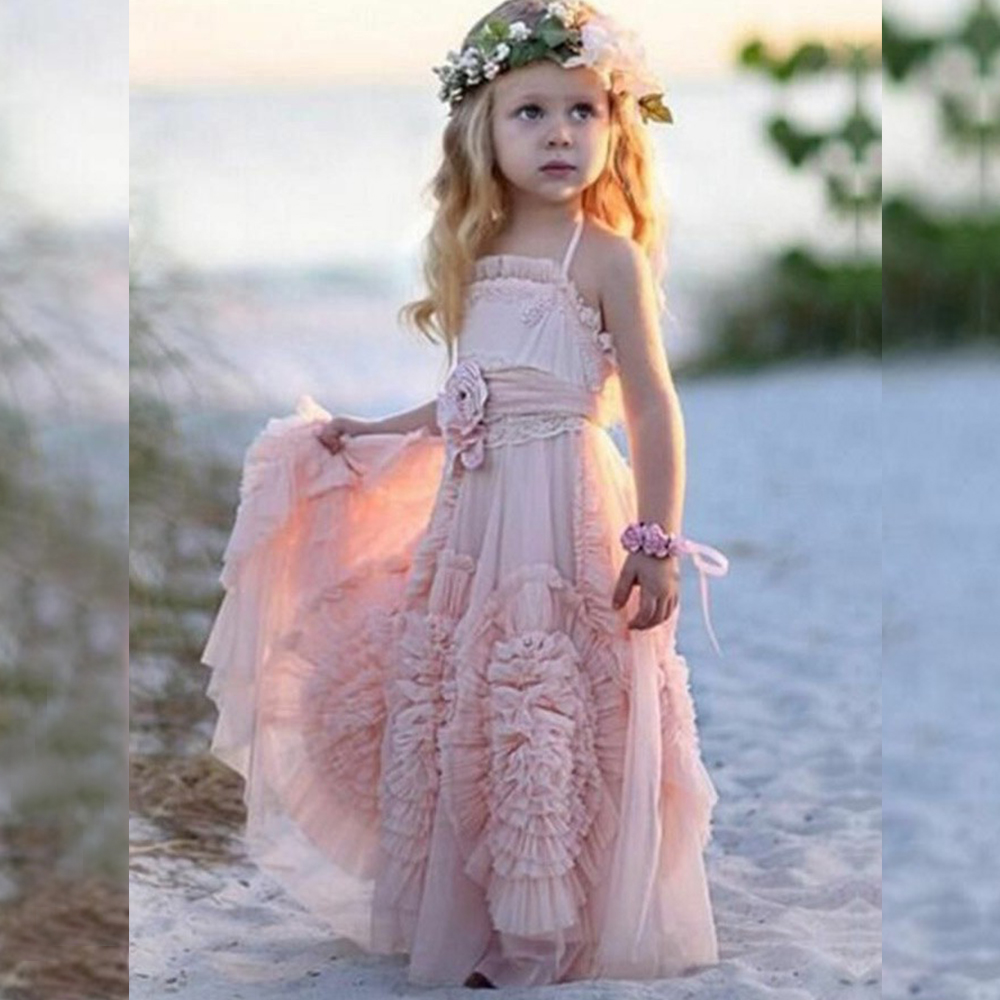 Bbonlinedress A Line   Flower     Girl     Dress   With Bow-knot Tulle Formal   Dresses   For Young   Girl   Party   Dress   Vestido de nina de flores