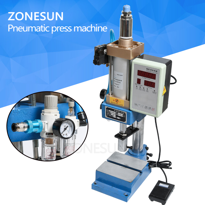 ZONESUN Automatic pnuematice press punching printing machine logo letter stamps print cutting die emboss press force adjustable