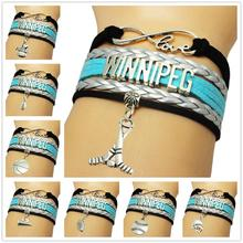 Infinity Love National Hockey League Winnipeg Jets Team Bracelet Hockey Fans Sport Wrap Blue Silver Leather Braid bracelet
