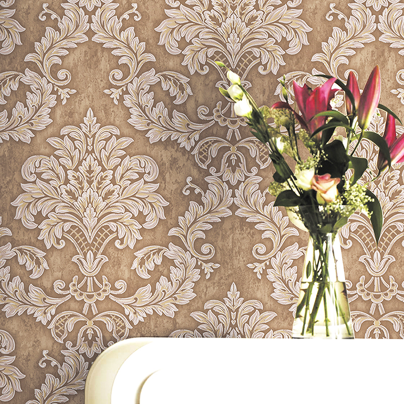 European Modern Damask Wallpaper 3D Non Woven Bedroom Living Room Embossed Floral Home Decor Wall Paper Roll