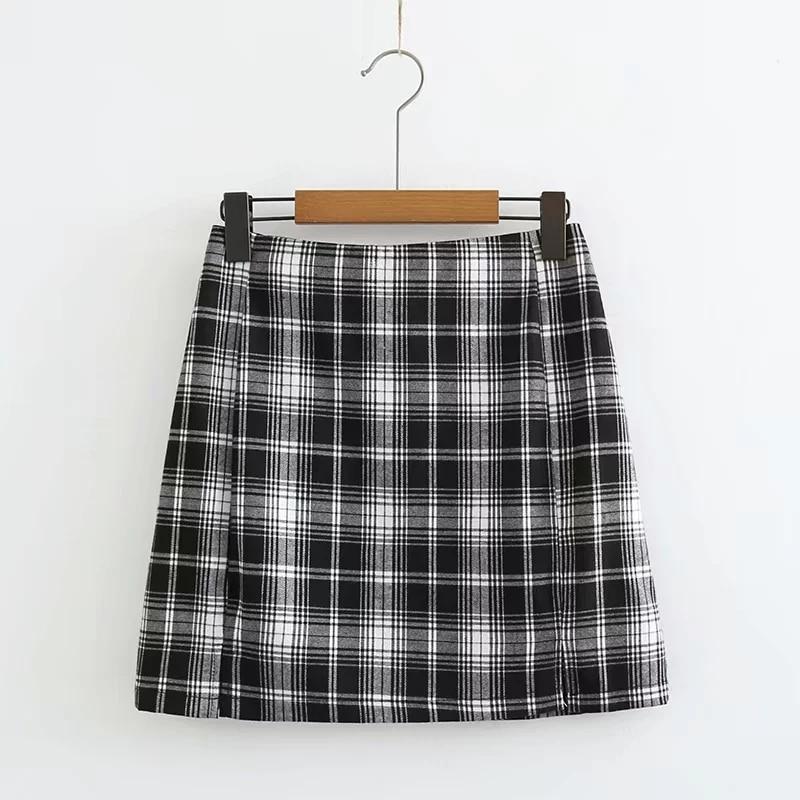 Black and white Plaid Mini Skirt