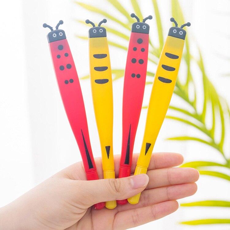 30 Pcs Creative Cute Ladybug Neutral Pen Cartoon Bee Soft Glue Pen Children School Supplies Writing Supplies Gel Pens