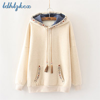 LDHTZKCX Print Embroidery Loose Hooded Hoodies Women 2018 Autumn winter New Elegant Ladies Pocket Cotton Pullovers Hoodies CX443