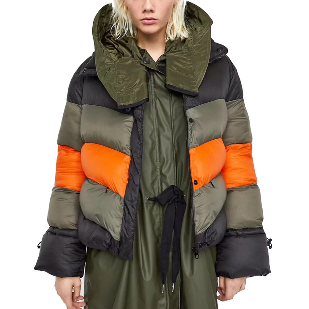 Hot Sale Fashion Women Warm Thick   Coat   Stripe Splicing Thickening Easy   Down   Jackets Streetwear Winter   down     coat   female Outwear