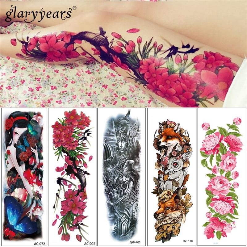 Glaryyears 16 Designs 1 Sheet 45.5*16cm AC Big Large Full Arm Temporary Tattoo Beauty Women Decal Body Tattoo Sticker For Unisex