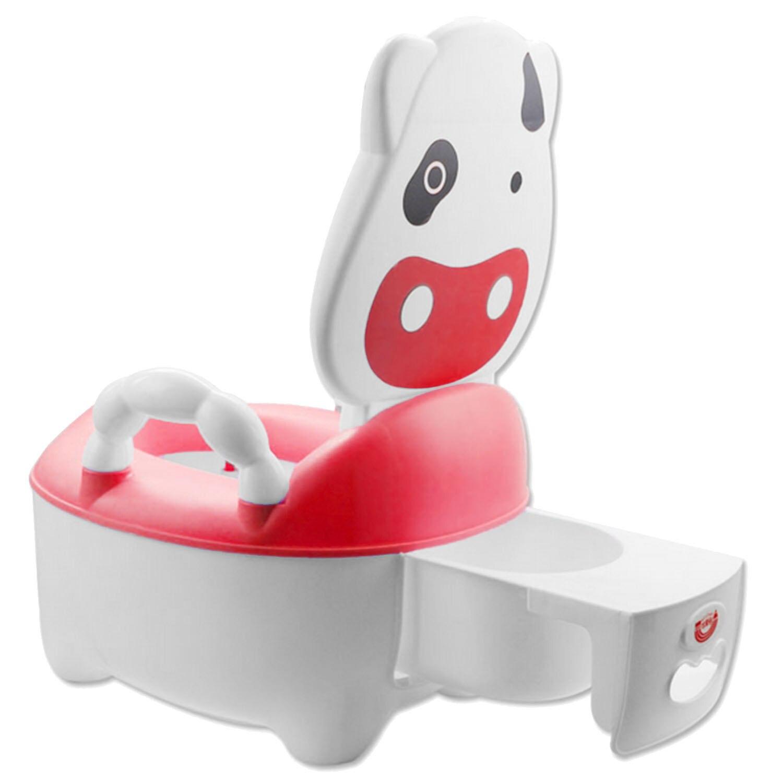 Baby Kids Kartun Desain Sapi Plastik Toilet Bayi Pelatihan Pelatih Seat Potty Kursi untuk 1-5 Tahun Bayi Pink-Intl