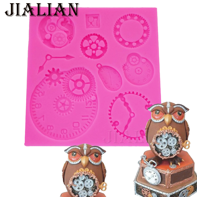 Cupcake Design Kitchen Accessories: Silicone Mold Fondant Cake Mould Gear Clock Pocket Watch