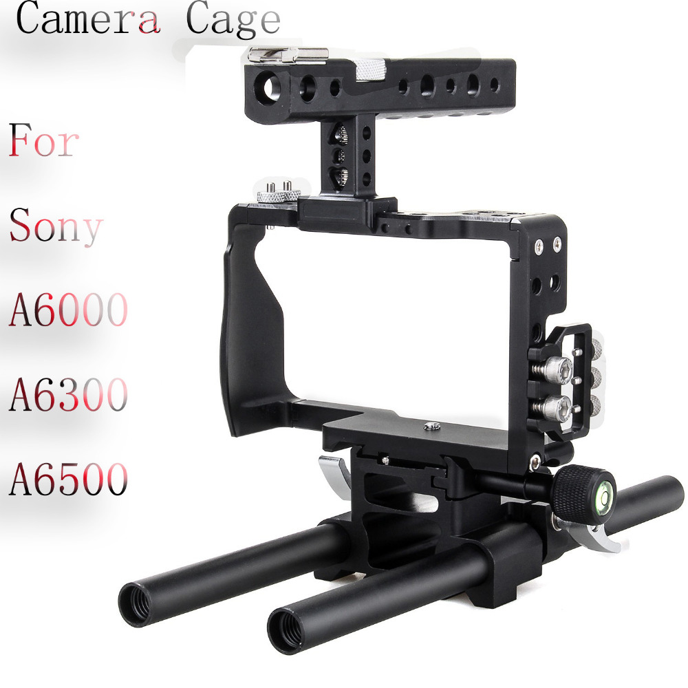EACHSHOT Aluminum Alloy DSLR Video Camera Cage Handle Stabilizer Kit Designed For Sony A6000 A6300 A6500 Protect The Cameras