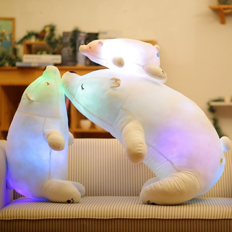110 cm coloré Flash LED en peluche gros ours polaire émettant de la lumière enfants poupée doux Animal en peluche oreiller cadeau mignon pour les enfants - 3