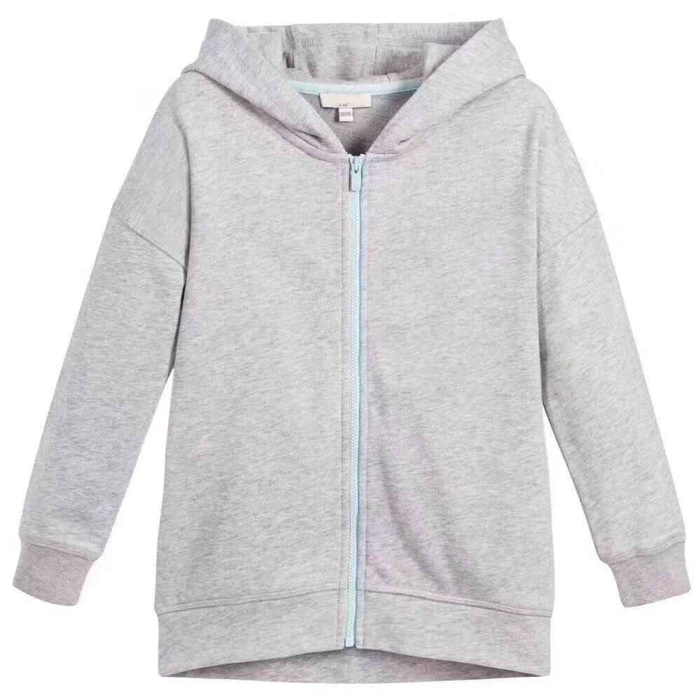 Kid Hoodie Sweatshirt For Boys Girls Outerwear Tops Grey Cotton Soft Sweatshirt Hooded Clothes in stock hooded pocket curved hem sweatshirt dress