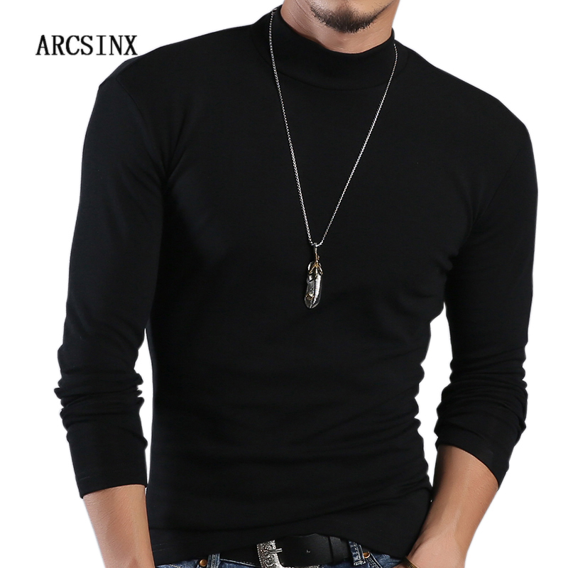 Image 1 - ARCSINX Half Turtleneck Men T Shirt Casual Long Sleeve T Shirt Men Plus Size 6XL 5XL 4XL 3XL Fashion Fitness Tight Tee Shirt Men-in T-Shirts from Men's Clothing