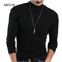 ARCSINX Half Turtleneck Men T-Shirt Casual Long Sleeve