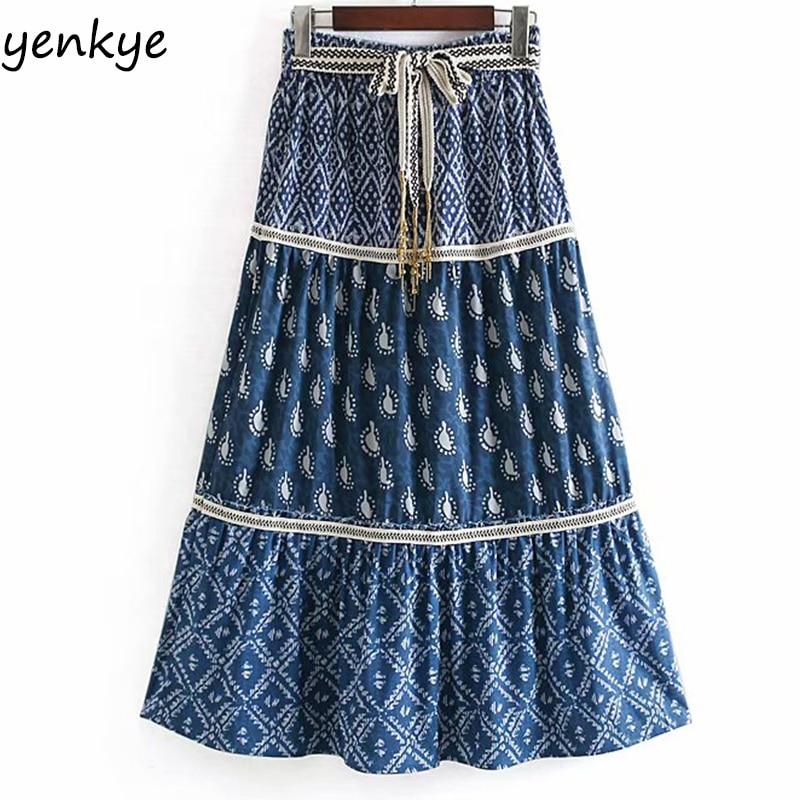 Holiday Boho Skirt Vintage Belt Print Skirts Womens Elastic High Waist A-line Long Summer Skirt Faldas Mujer Moda 2019 CCWM9088