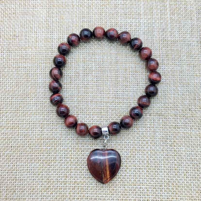 צמיד מתנת אופנה אבן חרוז צמידי לב קסם 8 mm צמיד אלסטי לבה קריסטל לפיס לזולי ברדוריט 20 מודלים