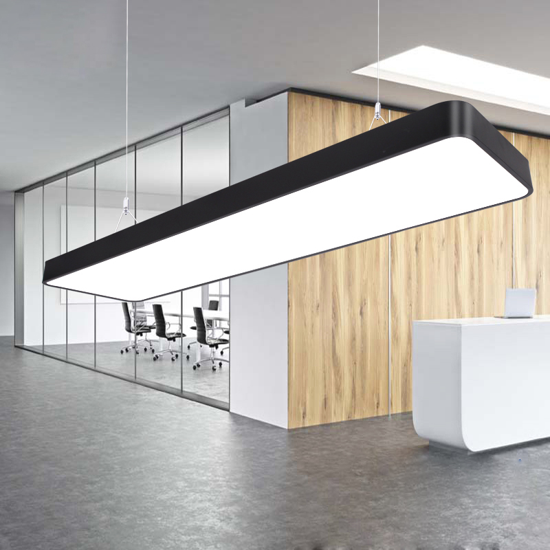 LED office chandelier long strip light school classroom restaurant rectangular ceiling light simple modern lighting fixture modern office light pendant lights simple led office long strip aluminum rectangular commercial lighting market ultra thin lamps