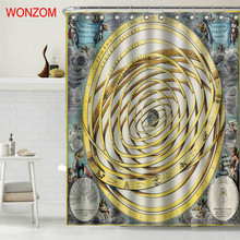 WONZOM New Polyester Fabric Earth Shower Curtains with 12 Hooks For Bathroom Decor Modern 3D Book Bath Waterproof Curtain