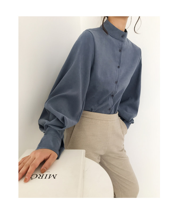 HTB1.F3WbcfrK1Rjy0Fmq6xhEXXax - Fashion women blouse shirt lantern long sleeve women shirts solid stand collar office blouse womens tops and blouses 2516 50