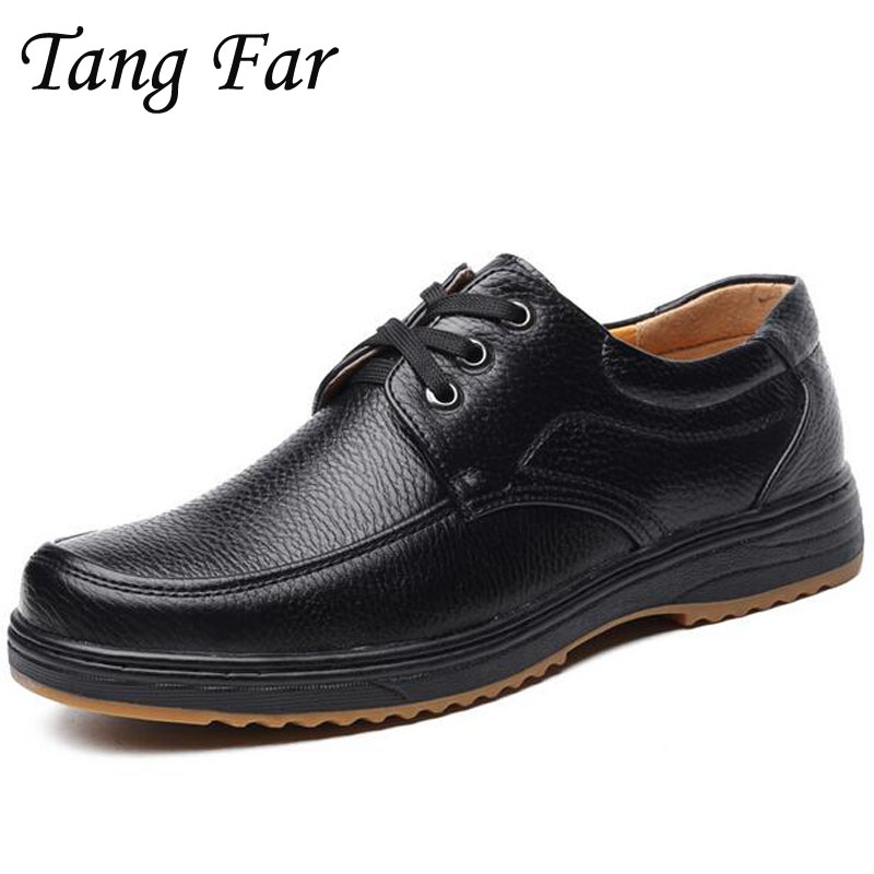 Big Size 39-48 Men Casual Shoes Genuine Leather Fashion Mens Business Derby Shoes Lace-Up Leisure Loafers Male Black Brown цены онлайн