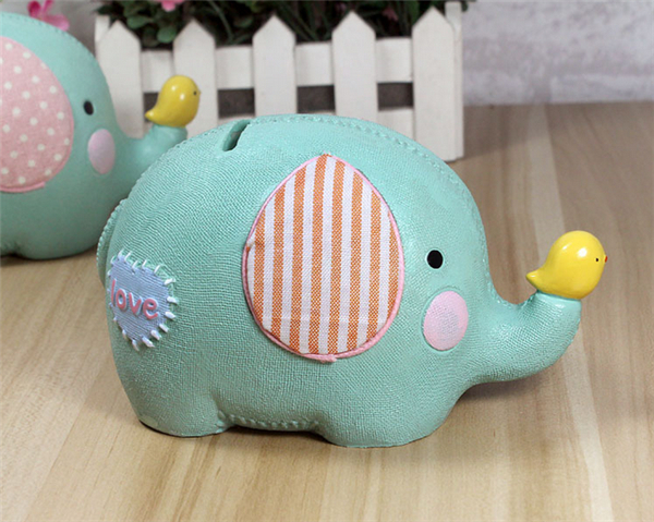 Resin Material Cute Elephant Shape Piggy Bank Creative Cartoon