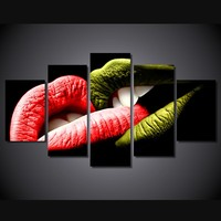5 Pcs/Set Framed HD Printed Red Green Lips Picture Wall Art Canvas Print Room Decor Poster Canvas Pictures Painting