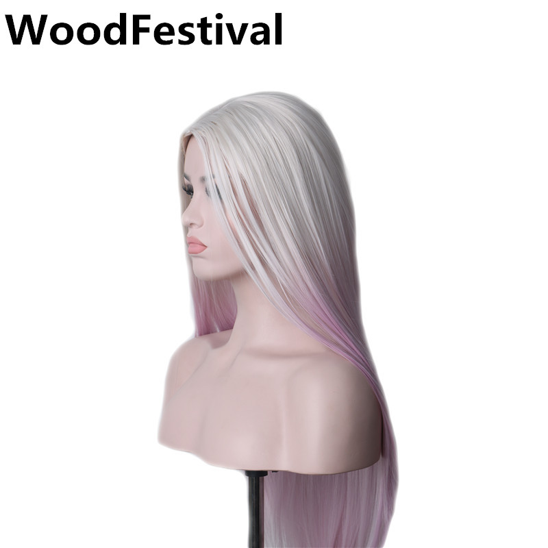 WoodFestival Female Heat Resistant Long Straight Hair Wig Synthetic Ombre Wigs For Women