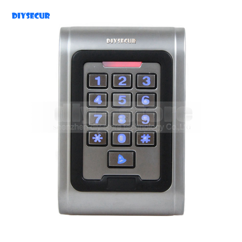 DIYSECUR S100EM Waterproof Access Controller Metal Password Reader 125KHz RFID Access Control Keypad With Doorbell Button metal rfid em card reader ip68 waterproof metal standalone door lock access control system with keypad 2000 card users capacity