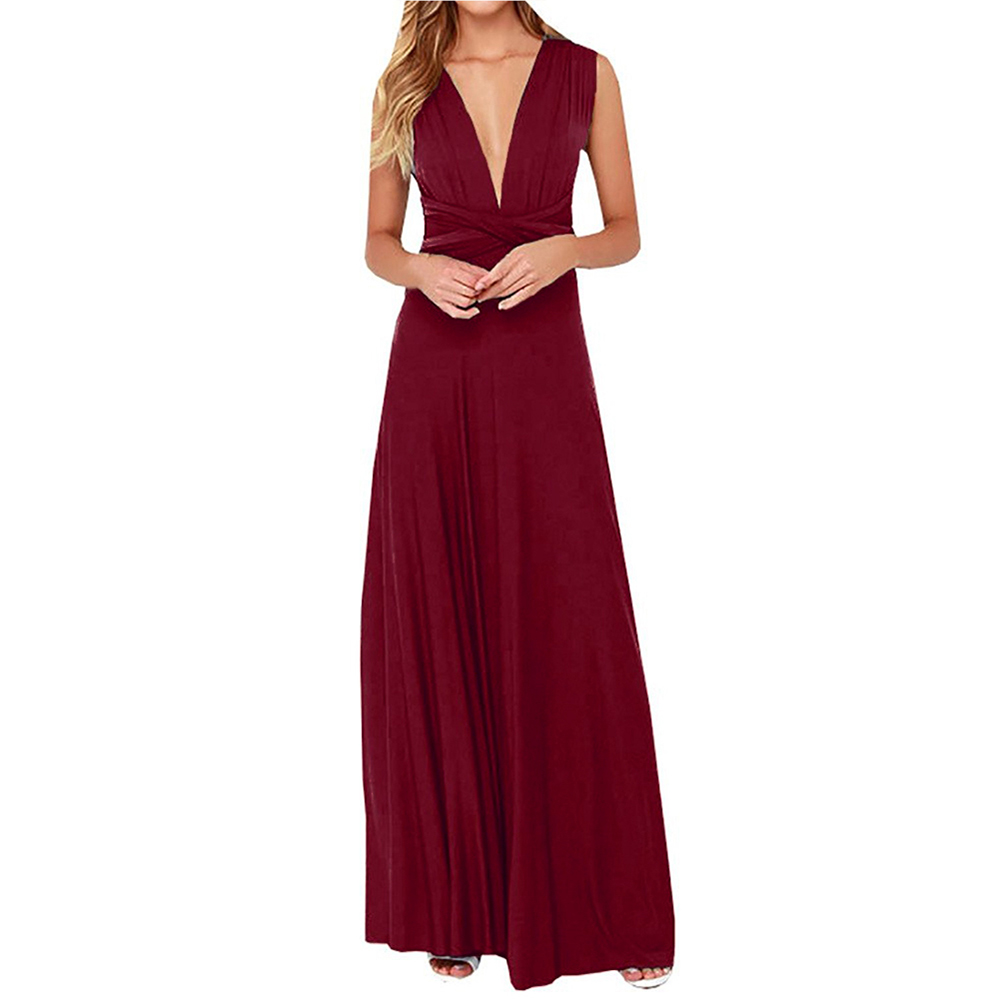 Sexy Frauen Boho Maxi Club Rotes Verbandkleid Langes Kleid Partei ...