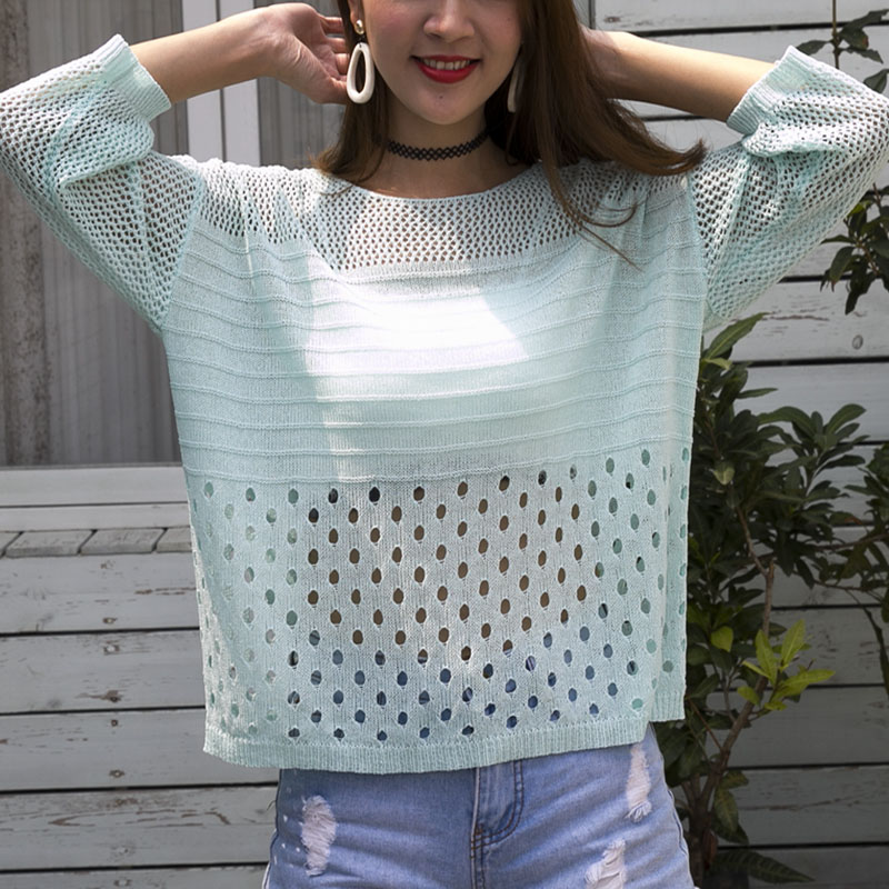 Ladies Summer Hollow Out Pull Knitted Causal Tops Ladies Knitwear Fashion Jumper Solid Women Pullovers Korea Knitwear Female