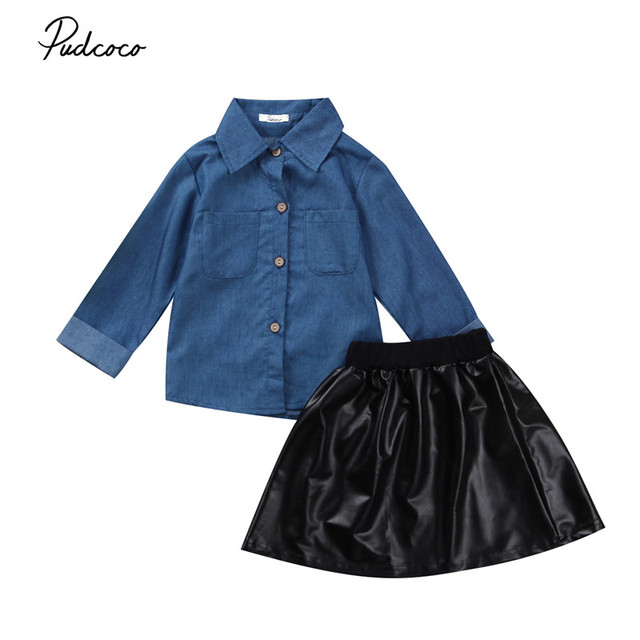 65439c1654 2017 Cute Toddler Kids Baby Girls Denim Tops Shirt + Leather Tutu Skirts  Outfits Set 1-5T