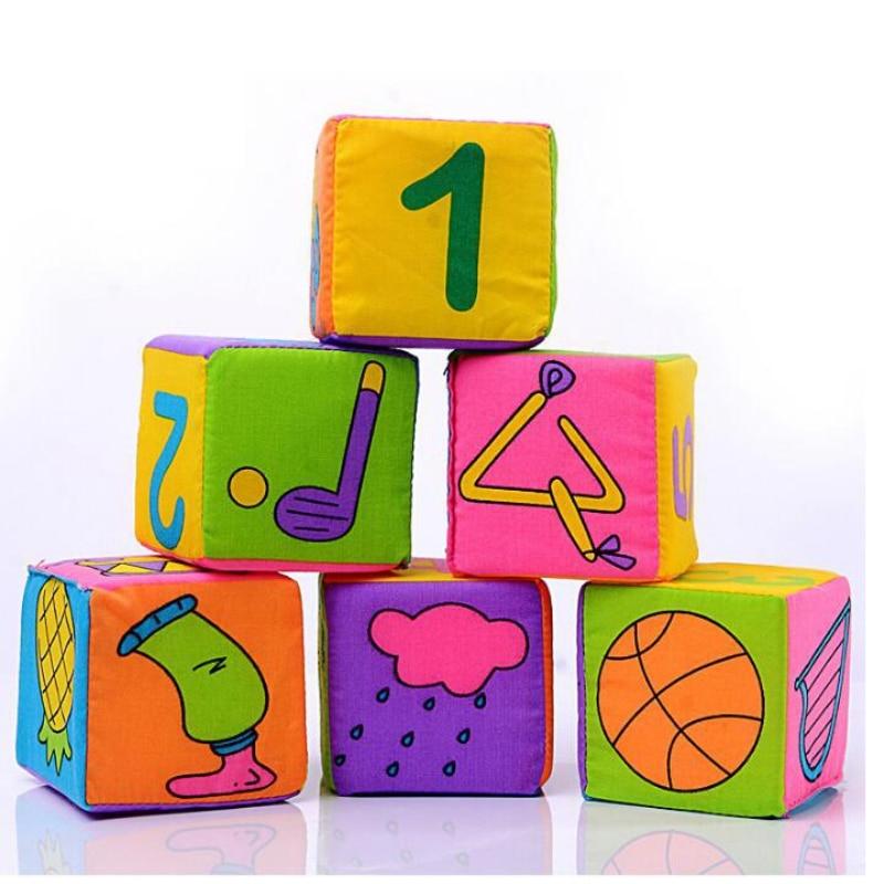 6 pcs / Set Mainan Pendidikan 7 cm Blok Bangunan Dipasang Bayi Guncang Mainan Untuk Bayi Yang Baru Lahir blok bangunan kain rattle Bermain Lembut