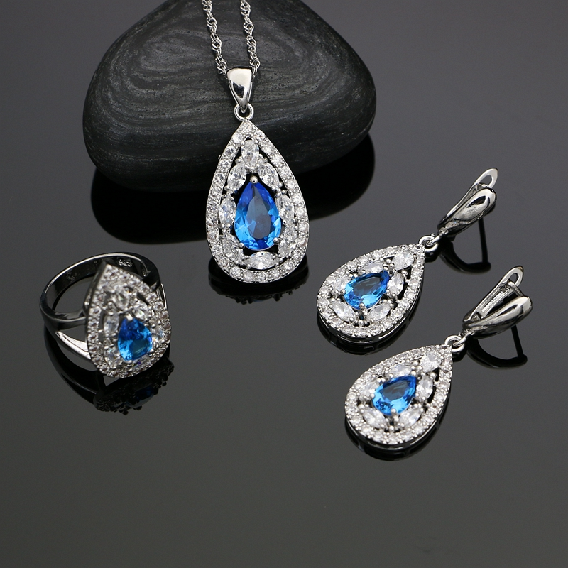 Women 925 Silver Jewelry Sky Blue Cubic Zirconia White Crystal Jewelry Sets Earrings/Pendant/Necklace/Ring