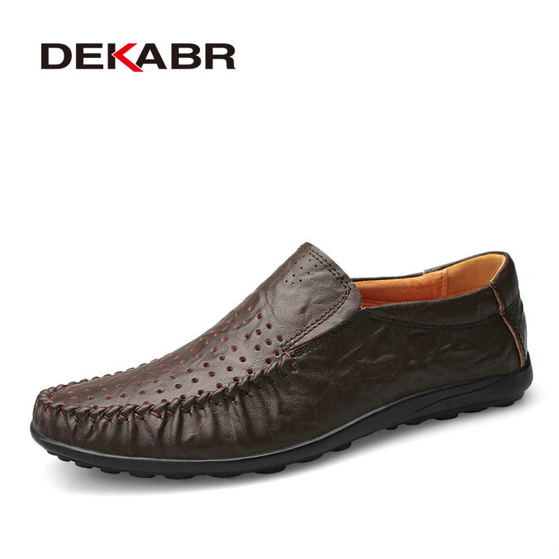 DEKABR New Arrival Genuine Leather Fashion Mens Casual Shoes Cowhide Driving Moccasins Slip On Loafers Men Flat Shoes Size 36-47 new men loafers casual summer shoes fashion genuine leather slip on driving shoes soft moccasins holes comfort light mens flats