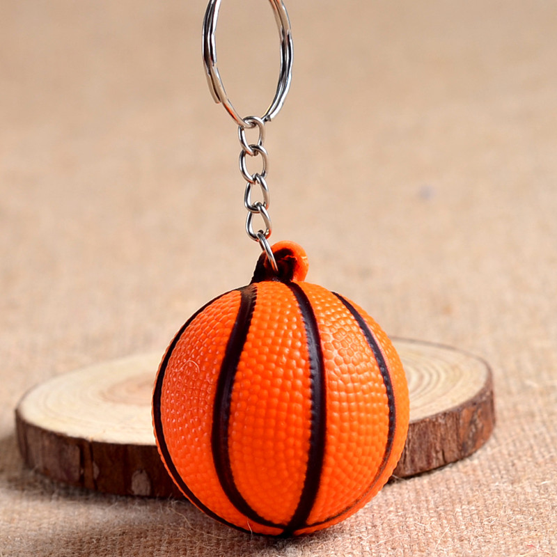 20 pieces/lot Cheap basketball PU keychain toys, fashion sports item key chains jewelry gift for boys and girls