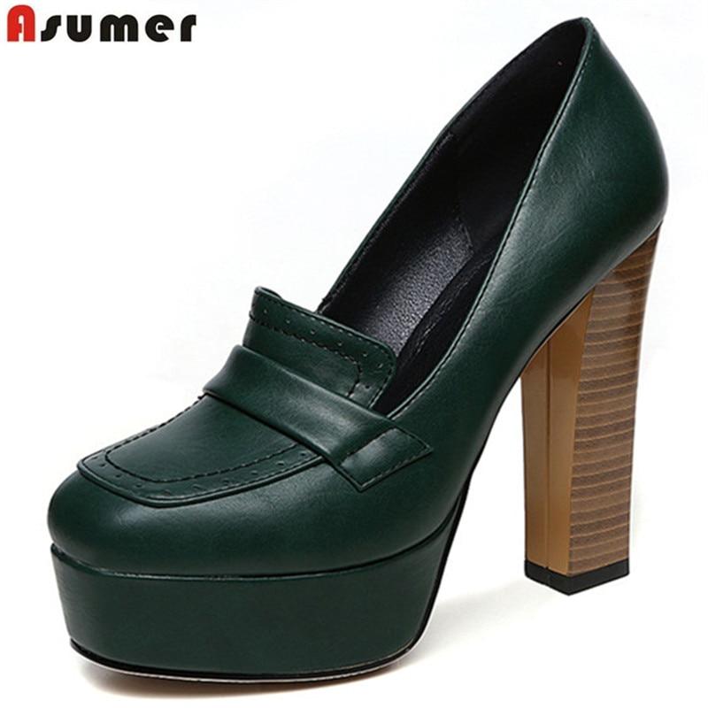 Asumer 2020 spring autumn new arrive women pumps fashion shallow super heels lady prom shoes elegant platform solid color