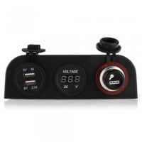 Dewtreetali Brand New Car Auto 12V Cigarette Lighter 2 USB Sockets Adapter Charger Voltmeter Digital Display