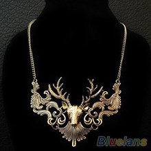 Hot Sale Retro Bronze Antique Silver Deer Head Necklaces & Pendants Great Gift 0334(China)