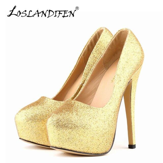 Loslandifen sexy bombas de las mujeres zapatos 14 cm plataforma ultra tacones altos glitter oro ronda dedo del pie de las señoras zapatos de fiesta de bodas 817-1gitter