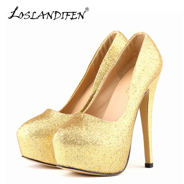 6fcf31cba0 Loslandifen sexy mulheres bombas de ultra salto alto brilho sapatos de ouro  14 cm festa de