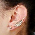 Rhinestone Crystal Earring Leaf Zier clip earrings with crystal Rose Gold Ear anti allergy punk earring for leaf