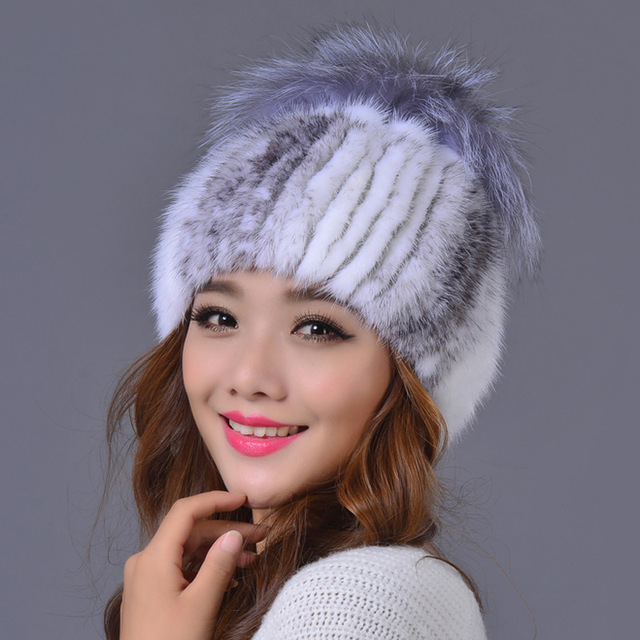 2016 Hot Sale Solid Adult New Arrival Winter Fur Caps Genuine Mink Women Knitted Ear Hat With Fox Ball Pom Poms Female Hats