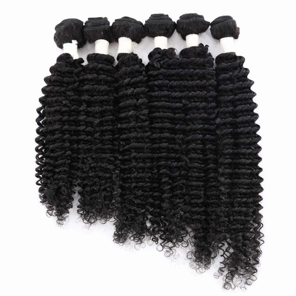Boêmio cabelo Humano Onda Pacote Cabelo Lida Com Fechamento X-TRESS 6 Extensões Da Trama Preto Natural Cor Malásia Cabelo Não Remy Bundles