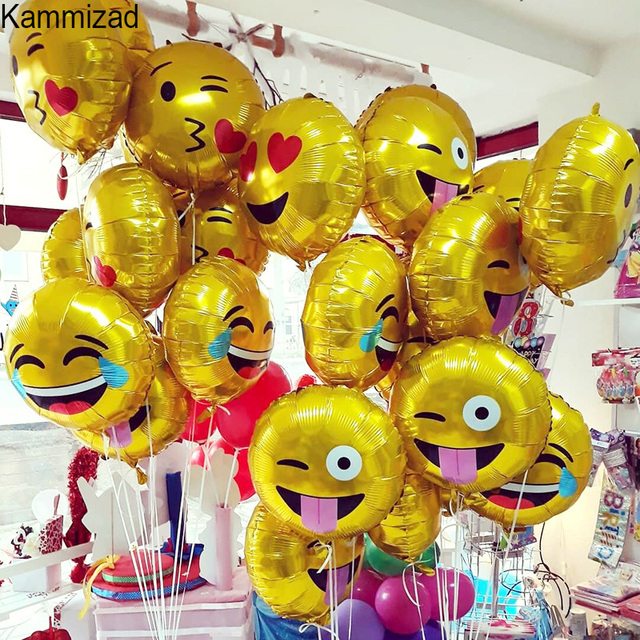 Emoji Party Foil Balloon 10pcs Lot Unicorn Balloons For Birthday Emoticons Helium Rose Gold Globos Wedding Air Ballons