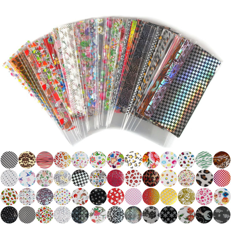 52 Sheet 20cm*4cm Mix Color Transfer Foil Nail Art Flower Design Sticker Decal For Polish Care DIY Free Shipping Nail Art WY209 quality guarantee yellow matte vinyl wrap film foil car sticker with air bubble free fedex free shipping size 1 52 30m roll