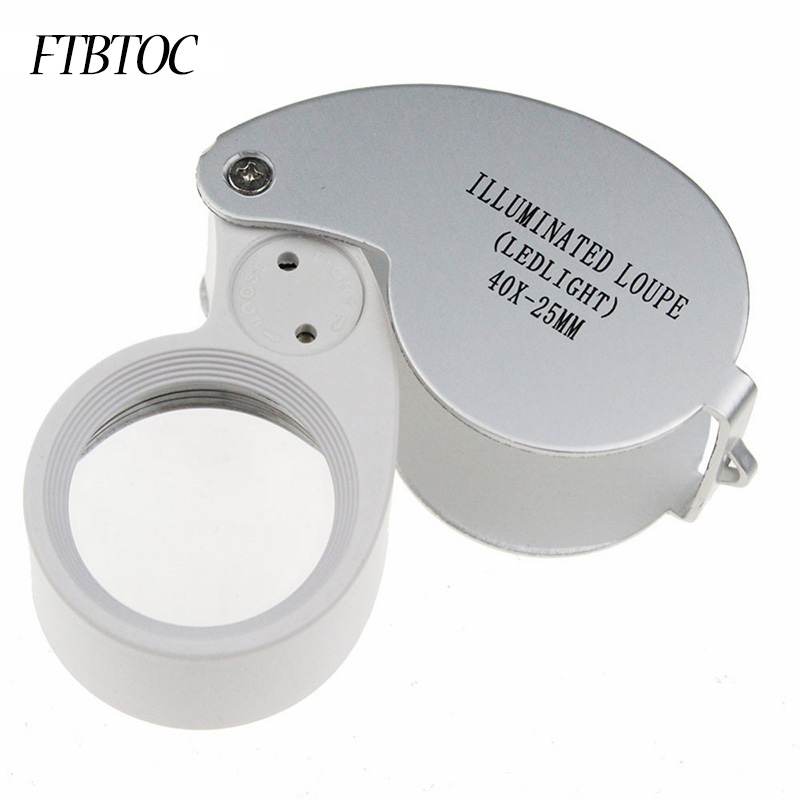 FTBTOC 40X Portable Folding Magnifier Loupe Illuminated Magnifier Magnifying Glass Jewelry Coins Stamps Antiques 60x zoom microscope magnifier with led light illuminated standing jewelry loupe magnifier scale portable magnifying glass lupa