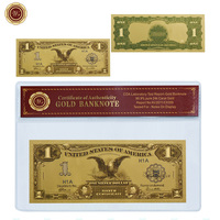 WR Business Gifts American Paper Money Year 1987 USD 1 Commemorative Fake Bills Home Decor with PVC Frame for Collection