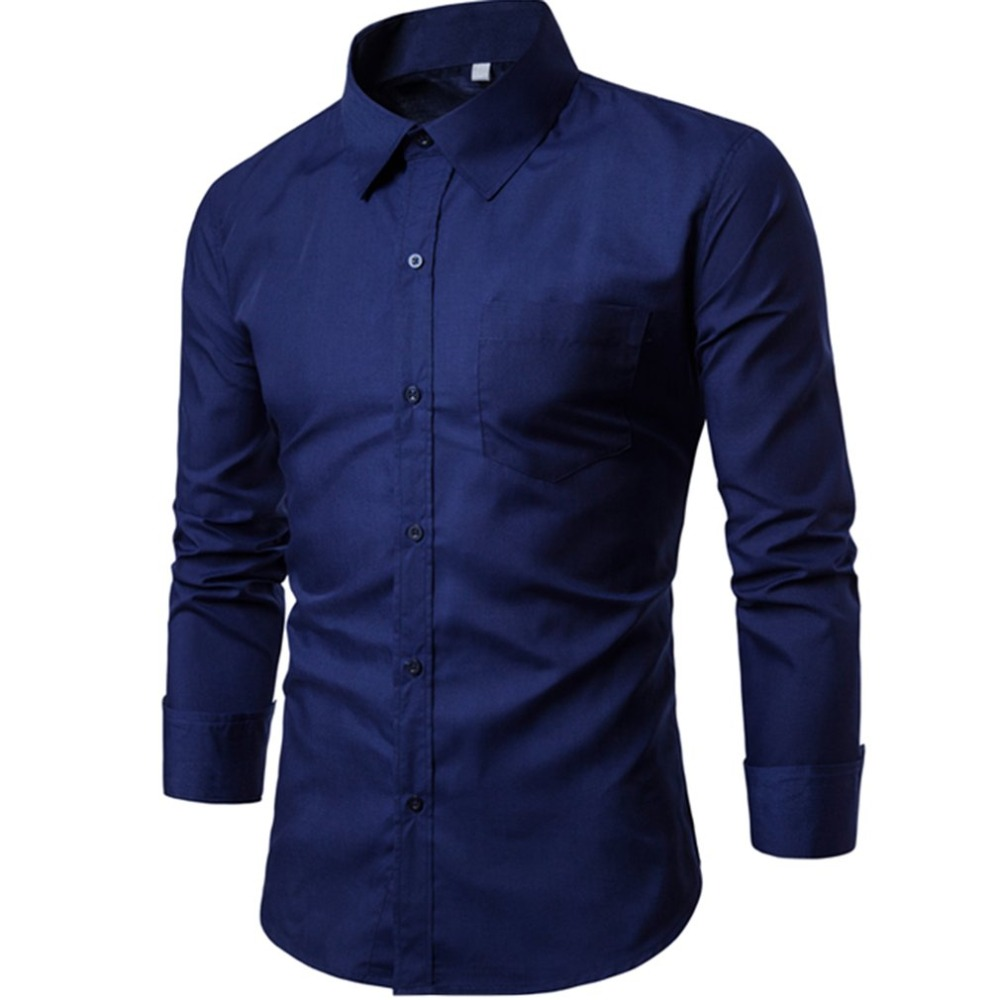 2018 cotton shirt men long sleeves Male Clothing Fit Business Shirts Spring Slim Fit Men tops casual shirts amisa masculina C3