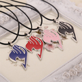 Fairy Tail necklace guild logo tattoo pendant Anime fashion jewelry leather rope for men and women wholesale