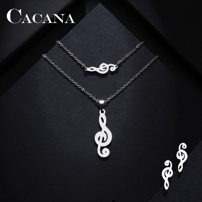 Stainless Steel Music Jewelry Set Necklace Bracelet Earring Treble Clef IMG_1089