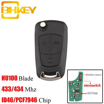 BHKEY 2/3Buttons Transponder Chip PCF7946 For Vauxhall Opel 434Mhz  For Vauxhall Opel Vectra C 2002-2008 HU100 Blade