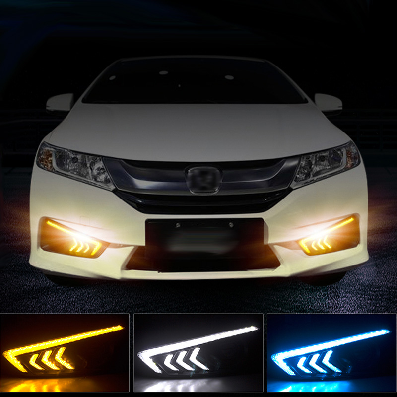 New Car Accessories LED DRL Daytime Running Lights Daylight Fog light LED fog lamp for City 2015 2016 qvvcev 2pcs new car led fog lamps 60w 9005 hb3 auto foglight drl headlight daytime running light lamp bulb pure white dc12v
